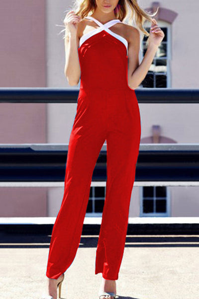 Halter Patchwork Sleeveless Jumpsuits