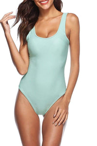 Sexy Solid-Color One-Piece Swimwear