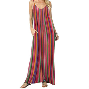 Rainbow Striped Holiday Maxi Dress
