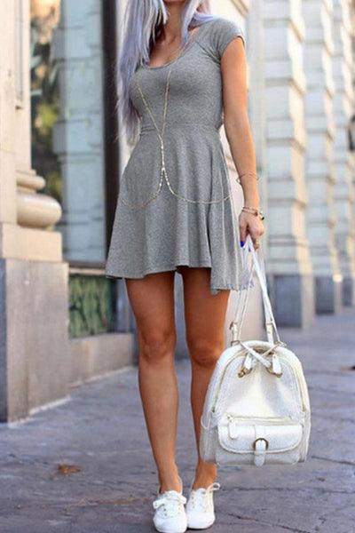 Round Neck Asymmetric Hem Backless Plain Short Sleeve Skater Dresses