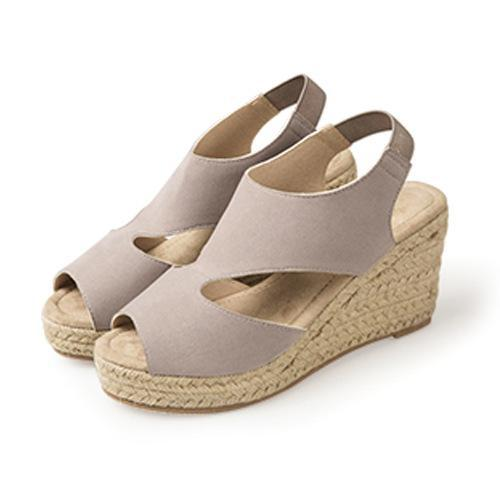 Large Size Buckle Strap Espadrille Wedges Sandals Woman Shoes