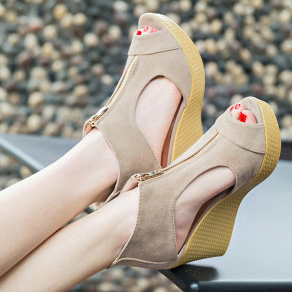 Plain High Heeled Velvet Peep Toe Casual Date Wedges