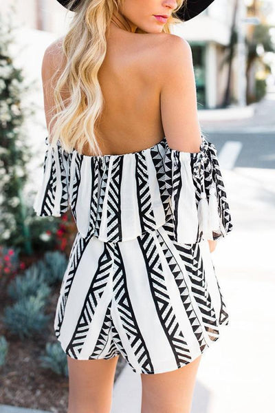 Fashion Black Short Sleeves Stripe Rompers Suits