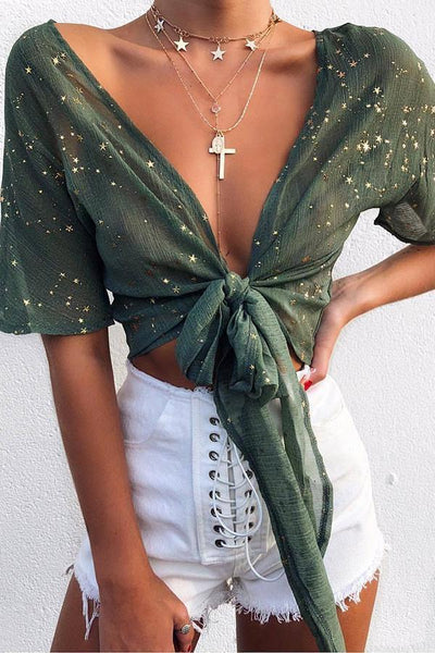 Stylish Green Long Sleeves T-Shirt Blouses