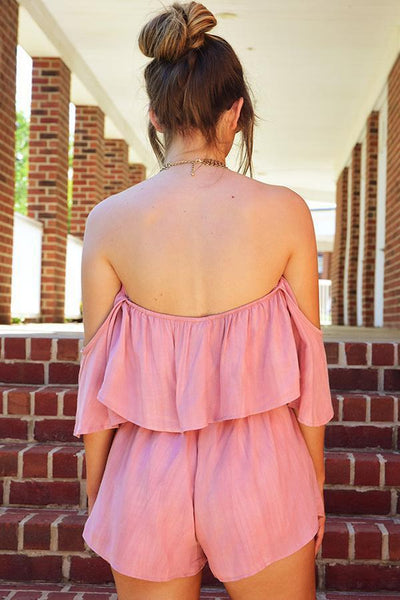 Sexy Pink High Waist Plain Rompers