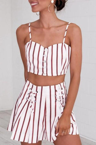Sexy Sleeveless Two-Piece Stripes Romper Suits