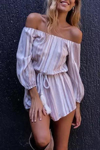 Off Shoulder Sexy Striped Rompers