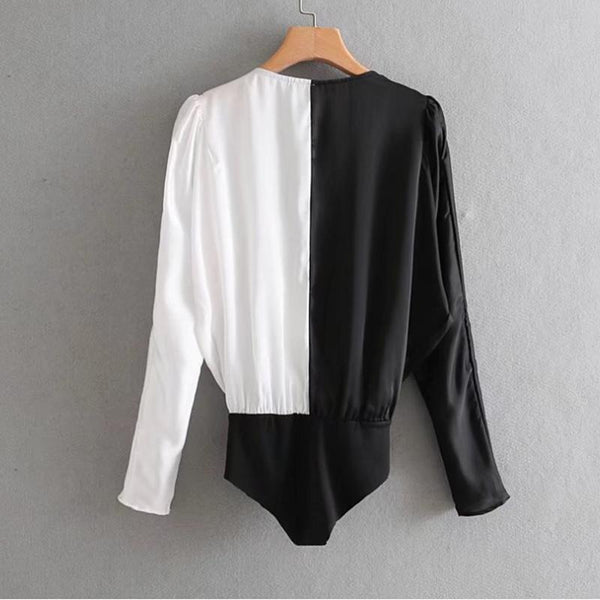 Double Color Flap Long Sleeve Blouses