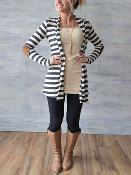 Striped  Long Sleeve Cardigans