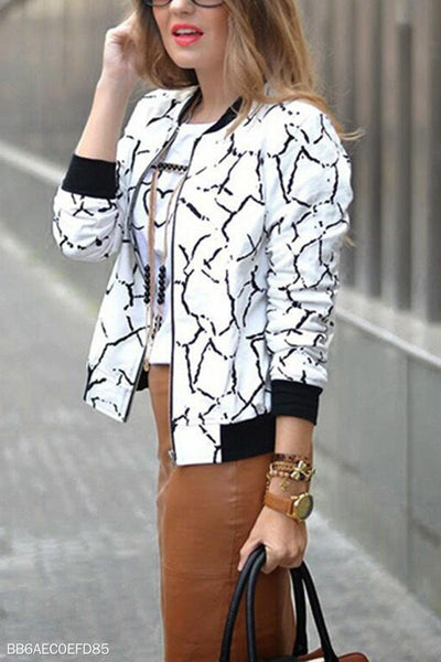 Abstract Print  Autumn Casual  Jackets
