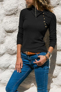 Asymmetrical Collar Button Long Sleeve Plain Knitting T-Shirts