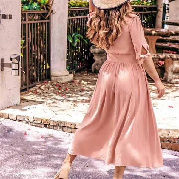 Fashion Casual Elegant Plain V Collar Medium Sleeve Button Bottom Maxi Vacation Dress