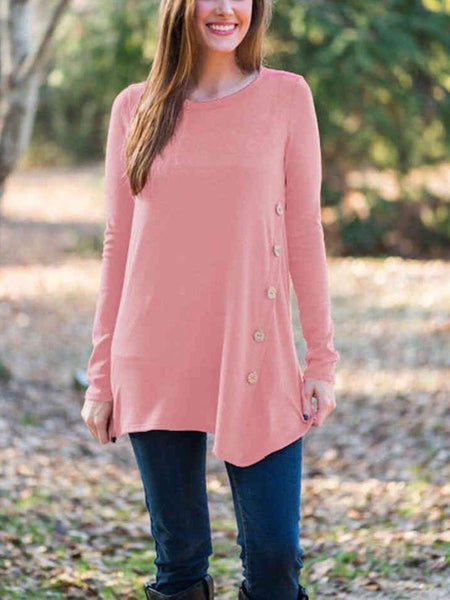 Scoop Neck  Asymmetric Hem Cutout Single Breasted  Decorative Button  Plain Long Sleeve T-Shirts