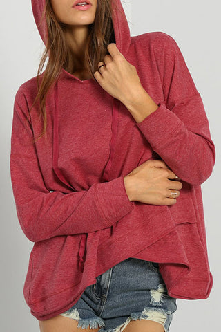 Hooded Asymmetric Hem Plain Hoodies