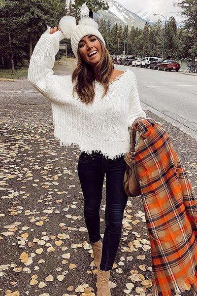 V-Neck Sweater Irregular Knitted Pullover Knitwear