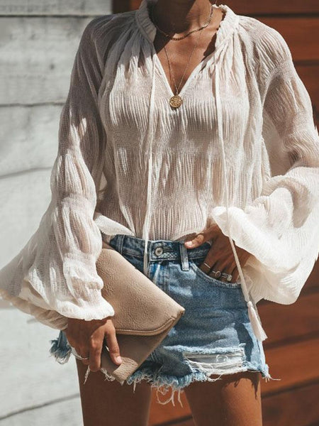 V Neck See Through Plain Lantern Sleeve Blouses