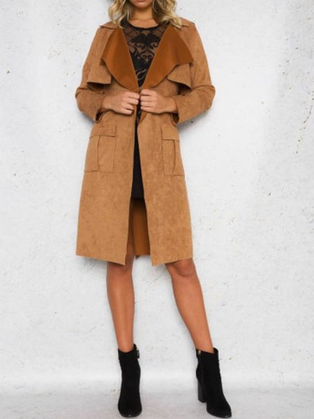 Lapel Patch Pocket Plain Trench Coats