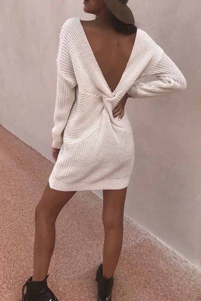 V Neck Backless Plain Bodycon Dresses