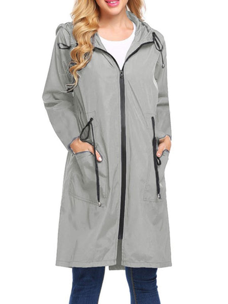 Hooded Abstract Print Trench Coats