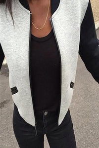 Crew Neck Cutout Contrast Stitching Color Block Plain Blazers