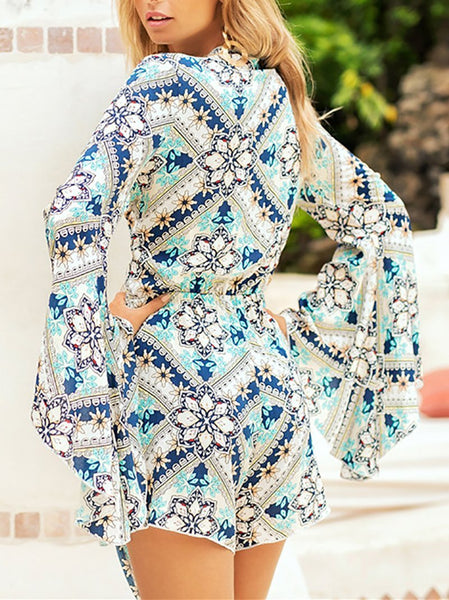 Fashion Printed Colour Long Sleeve Romper