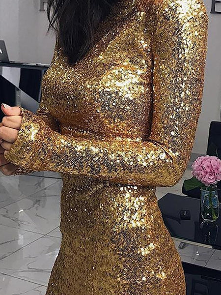 Casual Round Neck Sequins Long Sleeve Bodycon Dresses