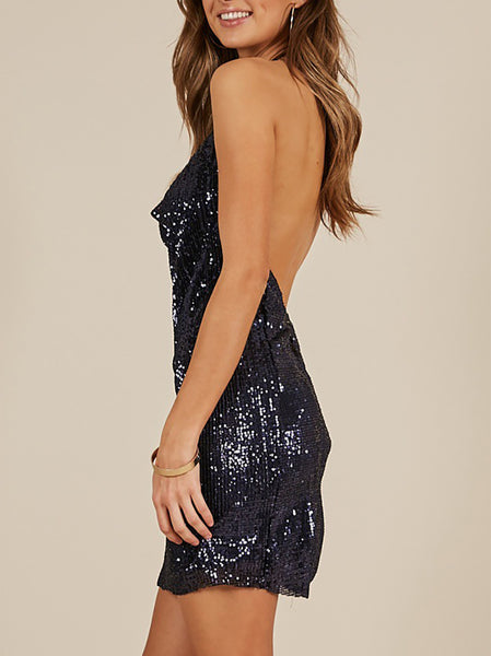 Fashion Sequins Sling Sleeveless Bodycon Dresses