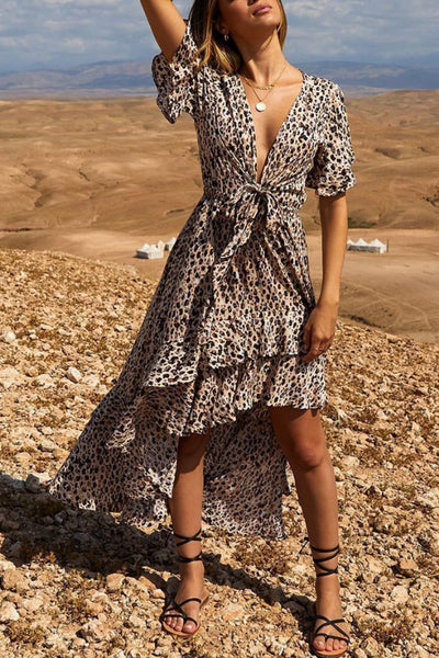 Fashion V Neck Leopard Print Bow Belted Maxi Dresses
