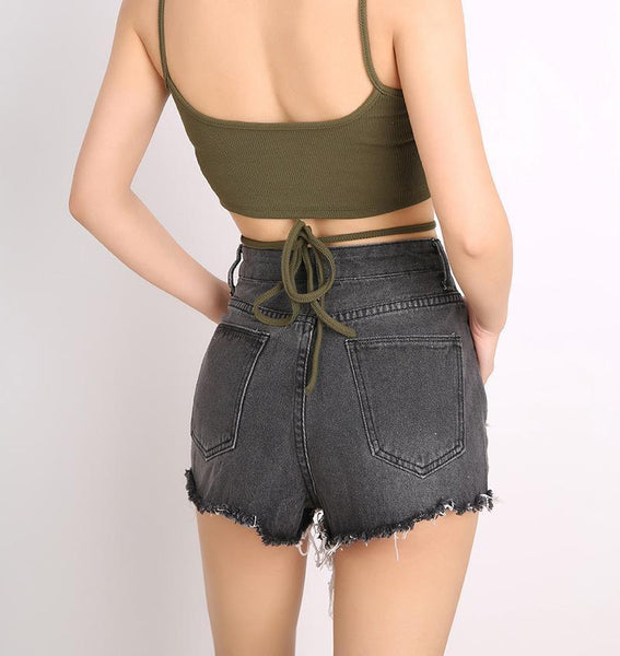 Casual Show Thin High   Waist  Ripped Jeans Shorts