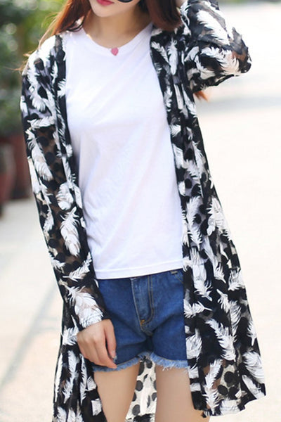 Collarless  Feather  Long Sleeve Cardigans