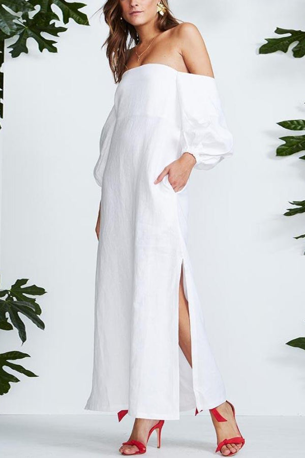Off-The-Shoulder Puff Sleeve Sexy Split Cotton And Linen Dress