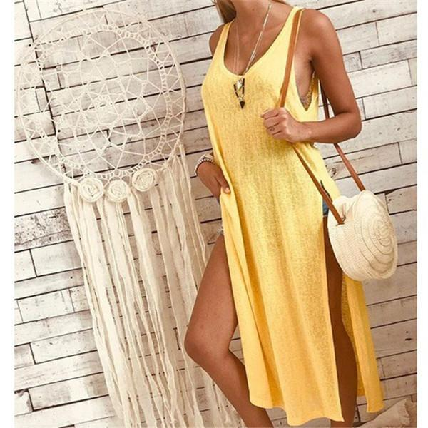 Fashionable Solid Color Sleeveless Casual Dresses