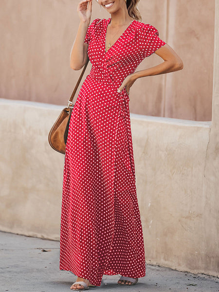 V-Neck Belt Polka Dot Maxi Dress