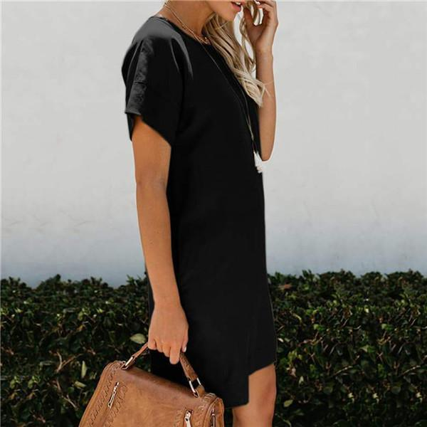 Fashion Casual Short Sleeve Pocket Casual Dresses