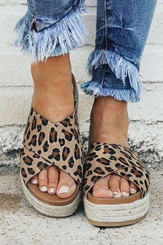 Fashion Leopard Printed Open Toed Thicken Sole Slippers