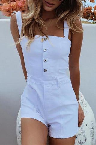 Sexy Bare Back Sleeveless Pure Colour Romper