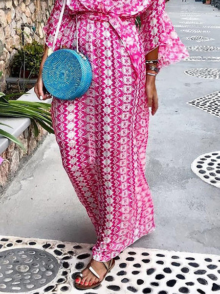 Fashion V Neck Printed Colour Belted Maxi Dresses