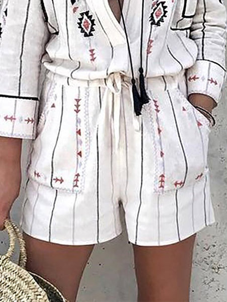 Fashion Turndown Collar Loose Printed Colour Rompers