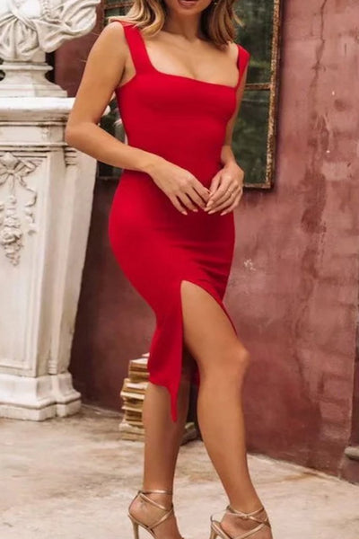 Sexy Open Shoulder Plain Tight Bodycon Dress