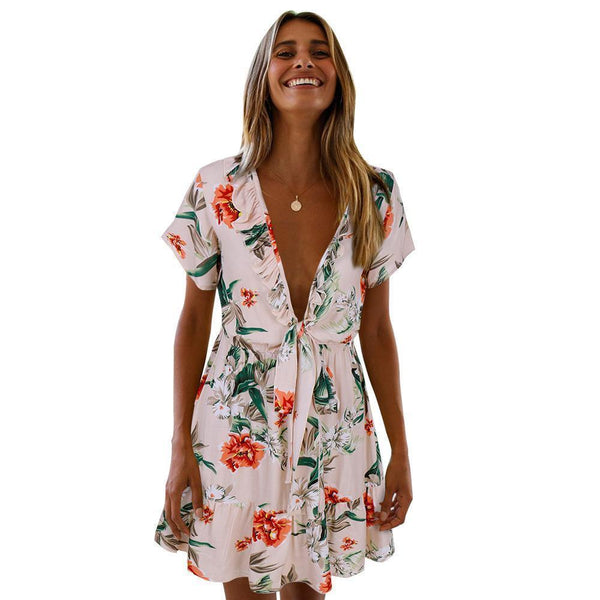 Chest Knotted V-Neck Small Floral Strap Dress