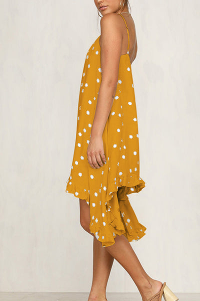 Spaghetti Strap Loose Fitting Dot Sleeveless Skater Dresses