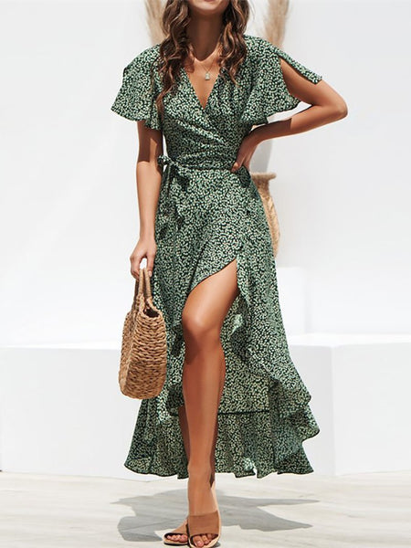 Sexy V Neck Ruffled Belted Short Sleeve Polka Dot Dress