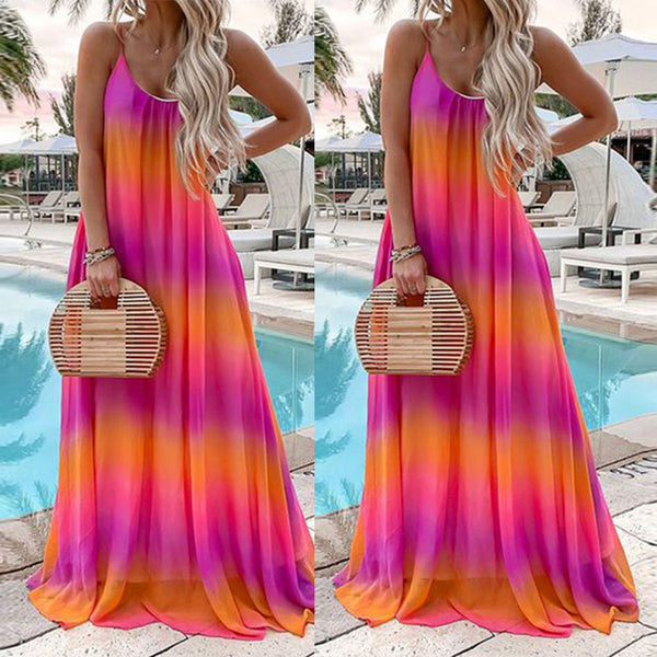Spaghetti Straps Gradient Printed Vacation Dresses