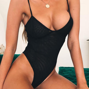Black Mesh One-Piece Open-Back Swimwear