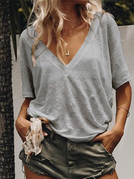V Neck Short Sleeve Plain Basic T-Shirts