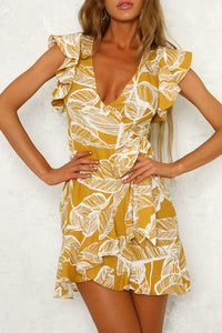 V Neck Printed Extra Short Sleeve Bodycon Dresses