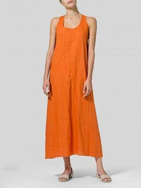 Pure Color Sleeveless Round Collar Casual Dress