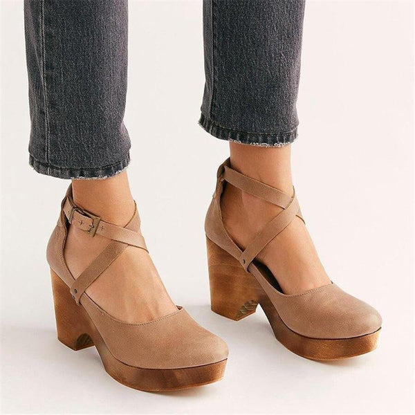 Fashion Retro Round Head High Heels