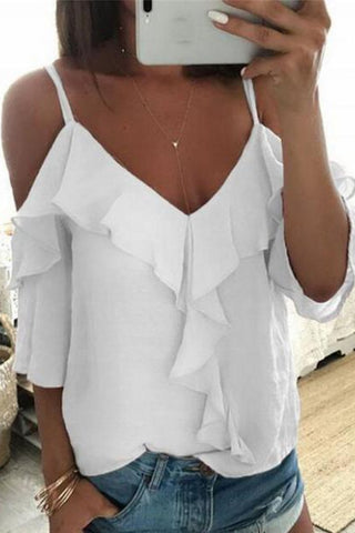 Sexy Ruffled V Neck Off-Shoulder Bare Back Pure Colour T-Shirt