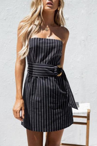 Boho Vertical Stripe Wrap Dresses